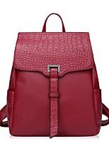 Women Cowhide Casual Backpack Purple / Red / Black