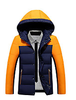 Men's Regular Down Coat,Simple Casual/Daily Color Block-Polyester White Duck Down Long Sleeve Blue / Red