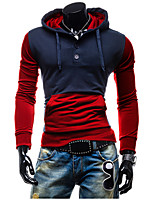 Men's Casual/Daily Active Regular HoodiesColor Block Blue / Black Shirt Collar Long Sleeve Cotton Spring