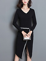 Women's Plus Size / Casual/Daily Street chic SweaterStriped Knee-length / Asymmetrical Long Sleeve Polyester Winter