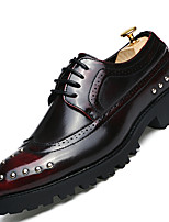 Men's Oxfords Comfort Casual Flat Heel Rivet / Lace-up Black / Gold / Burgundy Others