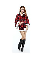 Christmas Costume /Holiday Halloween Costumes Black & Red Plaid Vest / Top / Shorts Christmas Female