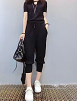 Women's Casual/Daily Simple Spring / Summer Set PantSolid Turtleneck Short Sleeve Black