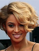 Short Wavy Hair Auburn and Blonde Color Synthetic Wigs for Women