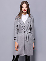 YBKCP  Women's Casual/Daily / Work / Party/Cocktail Vintage / Sophisticated CoatSolid Notch Lapel Long Sleeve Fall / Winter Gray Polyester