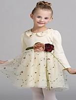 Robe Fille de Brodée Décontracté / Quotidien Coton Printemps / Automne Rose / Jaune