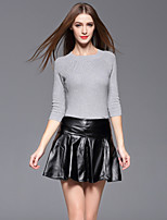 Women's Casual/Daily Simple Fall T-shirt Skirt Suits,Solid Round Neck ¾ Sleeve Gray PU / Cotton / Polyester Medium
