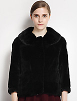 CANTO MOTTO Women's Casual/Daily Simple Fur CoatSolid Shirt Collar  Sleeve Winter Black Others Thick