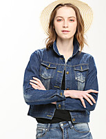 Women's Casual/Daily Simple Denim Jackets,Solid Long Sleeve Winter Blue Cotton / Polyester
