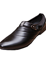 Men's Loafers & Slip-Ons Spring Fall Comfort PU Casual Flat Heel Ruched Black Brown White Walking