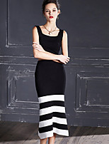 MASKED QUEEN Women's Going out Simple Summer Set SkirtStriped Square Neck Sleeveless Black Others Opaque