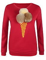 Women's Casual/Daily Simple / Cute Regular HoodiesPrint Blue / Red / White / Beige / Gray Round Neck RayonFall