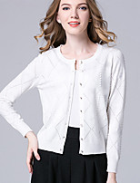 Hot SaleWomen's Casual/Daily Simple Regular CardiganSolid Red / White / Black / Yellow / Purple Round Neck Long Sleeve Cotton Fall / Winter