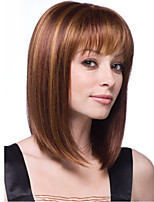 Flaxen Color Natural Wigs with Bangs for Women High Quality