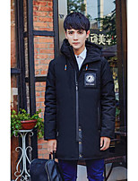 Men's Long Down Coat,Simple Casual/Daily Solid-Polyester Without Filling Material Long Sleeve Red / Black