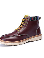 Men's Boots Fall / Winter Comfort PU Casual Flat Heel Lace-up Black / Blue / Red / White Sneaker
