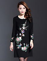 AINIER Women's Casual/Daily Chinoiserie Tunic DressEmbroidered Round Neck Above Knee  Sleeve Black Cotton / Polyester Spring / Fall Mid Rise