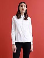 Chemise Femme,Lettre Habillées simple Automne Manches Longues Col de Chemise Blanc Coton / Polyester Moyen