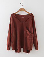 Women's Casual/Daily Simple Regular Pullover,Solid Brown Green Purple Round Neck Long Sleeve Cashmere Polyester Fall Medium Micro-elastic