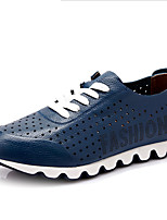 Men's Sneakers Spring Summer Fall Comfort Leather Athletic Flat Heel Lace-up Black Blue Brown Yellow