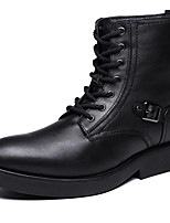 Men's Boots Spring Fall Winter Comfort Cowhide Outdoor Office & Career Casual Flat Heel Buckle Black Other