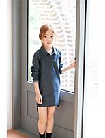 Menina de Vestido,Casual Cor Única Algodão Outono Preto / Azul