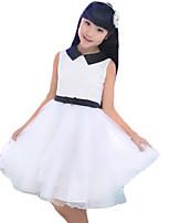 Vestido Chica de-Casual/Diario-Un Color-Otros-Verano-Blanco