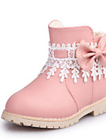 Girl's Boots Fall Winter Comfort Snow Boots PU Dress Casual Flat Heel Zipper Black Pink Red Walking