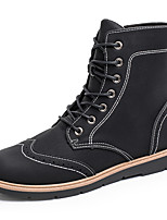 Men's Boots Fall / Winter Comfort / Combat Boots Polyester /  Casual Flat Heel Lace-up Black / Black and White
