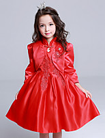 Girl's Casual/Daily Solid DressCotton / Polyester All Seasons Red