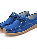 Women's Sneakers Fall Comfort Leather Casual Flat Heel Lace-up Blue Yellow Purple Others