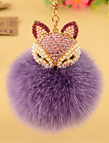 Car Key Ring Cute Creative Plush Fox Diamond Pendant