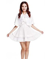 Christmas Costume /Holiday Halloween Costumes White Solid Skirt Christmas Female Pleuche