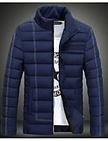 Men's Long Down Coat,Simple Casual/Daily Solid-Polyester Polyester Long Sleeve Blue / White / Black / Green