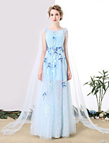 Formal Evening Dress Sheath / Column Scoop Floor-length Tulle with Embroidery / Lace