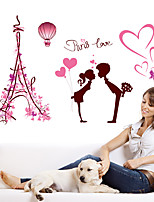 Romance Pink Eiffel Tower Paris Love Heart Wall Stickers Fashion DIY Bedroom Living Room Wall Decals PVC