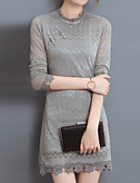 Women's Plus Size / Going out / Casual/Daily Vintage / Street chic / Chinoiserie Lace DressSolid Crew Neck Long Sleeve