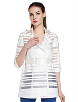 CANTO MOTTO Women's Going out Simple Trench CoatStriped Notch Lapel  Sleeve Fall White Cotton / Nylon Sheer