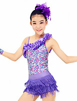 Dresses Performance Spandex / Paillettes / Sequins / Tassel(s) 4 Pieces Latin Dance Sleeveless HighDress / Bracelets
