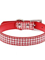 Cat / Dog Collar Adjustable/Retractable / Hands free / Casual Geometic Red / Black / Blue PU Leather