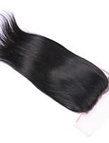 3.5x4 Fermeture Droit (Straight) Cheveux humains Fermeture Brun roux Dentelle Suisse 60 gramme Moyenne Cap Taille