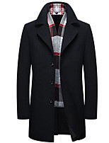 Men's Casual/Daily Simple Coat,Solid Long Sleeve Fall / Winter Black / Brown Wool Medium