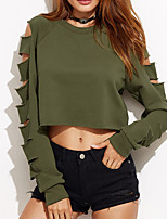 Women's Casual/Daily Sexy Regular HoodiesSolid Green Round Neck Long Sleeve Cotton Fall / Winter Medium Micro-elastic