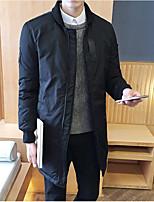 Пальто Простое Длинная На подкладке Мужчины,Однотонный На каждый день Полиэстер Полиэстер,Длинный рукав Синий / Красный / Черный