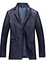 Men's Casual/Daily Simple Jackets,Solid Shirt Collar Long Sleeve Spring / Fall Blue / Red / Black / Brown Cotton Thin