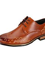 Черный / Коричневый / Красный-Мужской-На каждый день-Кожа-На низком каблуке-Others-Туфли на шнуровке