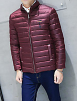 Men's Padded Coat,Simple Casual/Daily Solid-Others Polyester Long Sleeve Stand Blue / Red