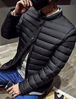 Men's Long Padded Coat,Simple Casual/Daily Solid-Polyester Polyester Long Sleeve Blue / Red / Black / Gray
