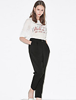 I'HAPPY Women's Solid Black Chinos PantsSimple Spring / Summer