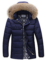 Men's Regular Padded Coat,Simple Casual/Daily Solid-Polyester Polypropylene Long Sleeve Hooded Blue